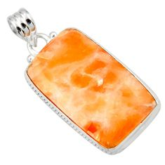 22.87cts natural orange calcite 925 sterling silver pendant jewelry d41667