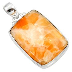 Clearance Sale- 25.00cts natural orange calcite 925 sterling silver pendant jewelry d41669