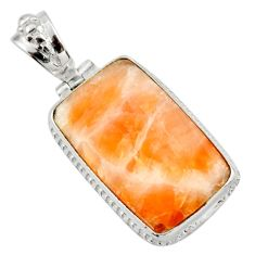 Clearance Sale- 25.00cts natural orange calcite 925 sterling silver pendant jewelry d41672
