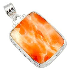 20.65cts natural orange calcite 925 sterling silver pendant jewelry d41673