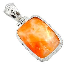19.20cts natural orange calcite 925 sterling silver pendant jewelry d41676