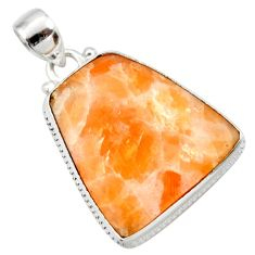 Clearance Sale- 21.48cts natural orange calcite 925 sterling silver pendant jewelry d41677