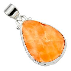 Clearance Sale- 14.72cts natural orange calcite 925 sterling silver pendant jewelry d41680