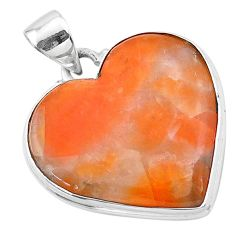 19.72cts natural orange calcite 925 sterling silver pendant jewelry t13233