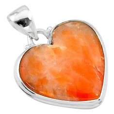 16.70cts natural orange calcite 925 sterling silver pendant jewelry t13236