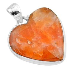 19.72cts natural orange calcite 925 sterling silver pendant jewelry t13238