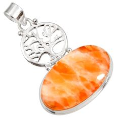22.59cts natural orange calcite 925 sterling silver tree of life pendant d44166