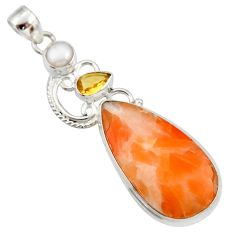 Clearance Sale- 26.16cts natural orange calcite citrine 925 sterling silver pendant d42349