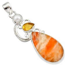 Clearance Sale- 20.07cts natural orange calcite citrine pearl 925 sterling silver pendant d42347