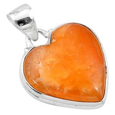 17.22cts natural orange calcite heart 925 sterling silver pendant jewelry t13237