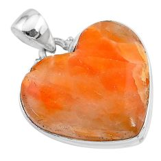24.38cts natural orange calcite heart 925 sterling silver pendant jewelry t13240