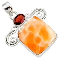 Clearance Sale- 19.52cts natural orange calcite red garnet 925 sterling silver pendant d41663