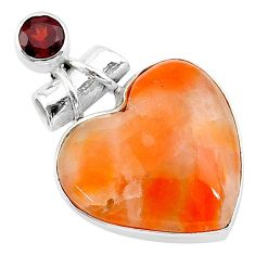 15.08cts natural orange calcite red garnet 925 sterling silver pendant t13176