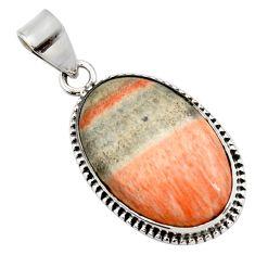 19.23cts natural orange celestobarite 925 sterling silver pendant jewelry r27995