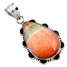 18.70cts natural orange celestobarite 925 sterling silver pendant jewelry r27996