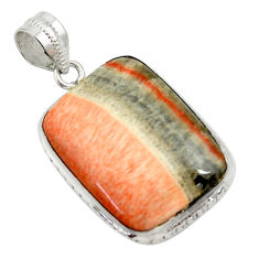 29.34cts natural orange celestobarite 925 sterling silver pendant jewelry r30603