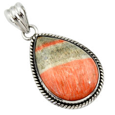26.14cts natural orange celestobarite 925 sterling silver pendant jewelry r30610