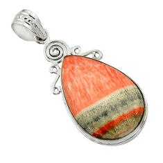21.15cts natural orange celestobarite 925 sterling silver pendant jewelry r31963