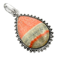 22.02cts natural orange celestobarite 925 sterling silver pendant jewelry r31966