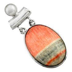 25.60cts natural orange celestobarite 925 sterling silver pendant jewelry r31967