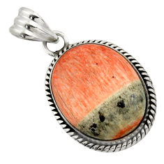 23.48cts natural orange celestobarite 925 sterling silver pendant jewelry r31970