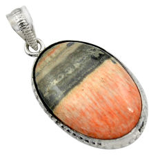 25.00cts natural orange celestobarite 925 sterling silver pendant jewelry r31972