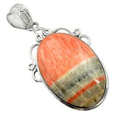 22.49cts natural orange celestobarite 925 sterling silver pendant jewelry r31973