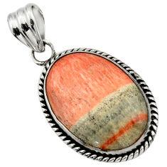 23.92cts natural orange celestobarite 925 sterling silver pendant jewelry r31976