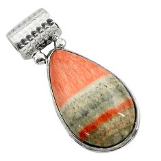 22.57cts natural orange celestobarite 925 sterling silver pendant jewelry r31978