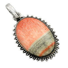 21.48cts natural orange celestobarite 925 sterling silver pendant jewelry r31979