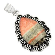 18.95cts natural orange celestobarite 925 sterling silver pendant jewelry r32072
