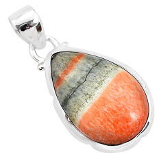11.73cts natural orange celestobarite 925 sterling silver pendant jewelry r94546