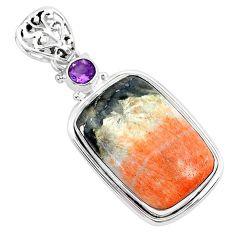 25.00cts natural orange celestobarite amethyst 925 silver pendant r94542