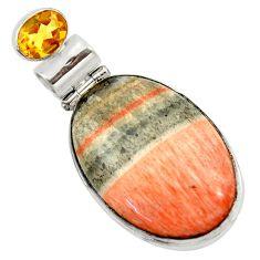 29.26cts natural orange celestobarite citrine 925 sterling silver pendant r30606