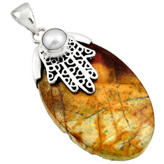 Natural orange cherry creek jasper 925 silver hand of god hamsa pendant r44343
