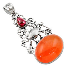16.89cts natural orange cornelian (carnelian) 925 silver crab pendant d46697