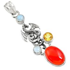 9.92cts natural orange cornelian (carnelian) 925 silver dragon pendant d43677