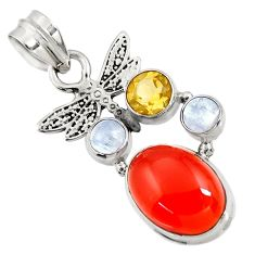 Clearance Sale- 9.72cts natural orange cornelian (carnelian) 925 silver dragonfly pendant d43655