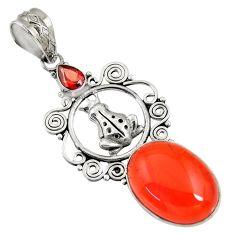 Clearance Sale- 15.26cts natural orange cornelian (carnelian) 925 silver frog pendant d43642