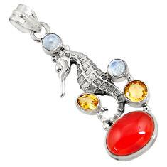 Clearance Sale- 10.77cts natural orange cornelian (carnelian) 925 silver seahorse pendant d43675