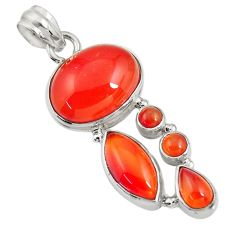 18.66cts natural orange cornelian (carnelian) 925 sterling silver pendant d43663