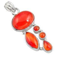 17.67cts natural orange cornelian (carnelian) 925 sterling silver pendant d43674