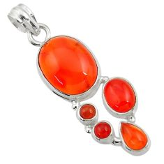 15.31cts natural orange cornelian (carnelian) 925 sterling silver pendant d43703