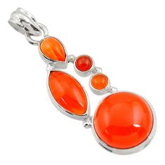 17.67cts natural orange cornelian (carnelian) 925 sterling silver pendant d43704
