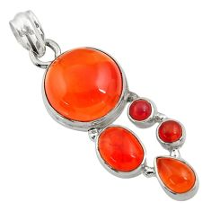 16.02cts natural orange cornelian (carnelian) 925 sterling silver pendant d43705
