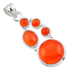 16.25cts natural orange cornelian (carnelian) 925 sterling silver pendant r43101