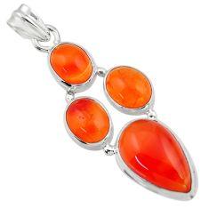 19.34cts natural orange cornelian (carnelian) 925 sterling silver pendant r43102