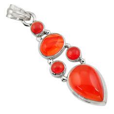 16.24cts natural orange cornelian (carnelian) 925 sterling silver pendant r43106