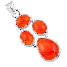 17.25cts natural orange cornelian (carnelian) 925 sterling silver pendant r43107