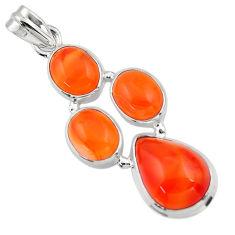 18.14cts natural orange cornelian (carnelian) 925 sterling silver pendant r43109